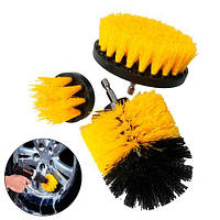 Набор из 3 щеток-насадок на шуруповерт дрель для чистки автомобиля