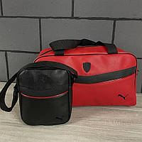Комплект сумка Puma красная+ барсетка Puma