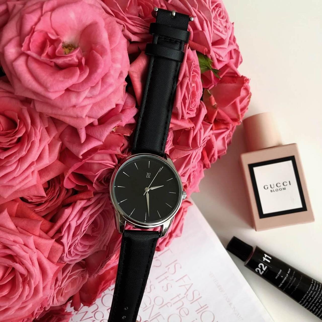 Годинник ZIZ Білим по чорному (ремінець насичено - чорний, срібло) + додатковий ремінець