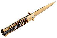 Нож выкидной на кнопке итальянский стилет с клипсой (цвет золото)