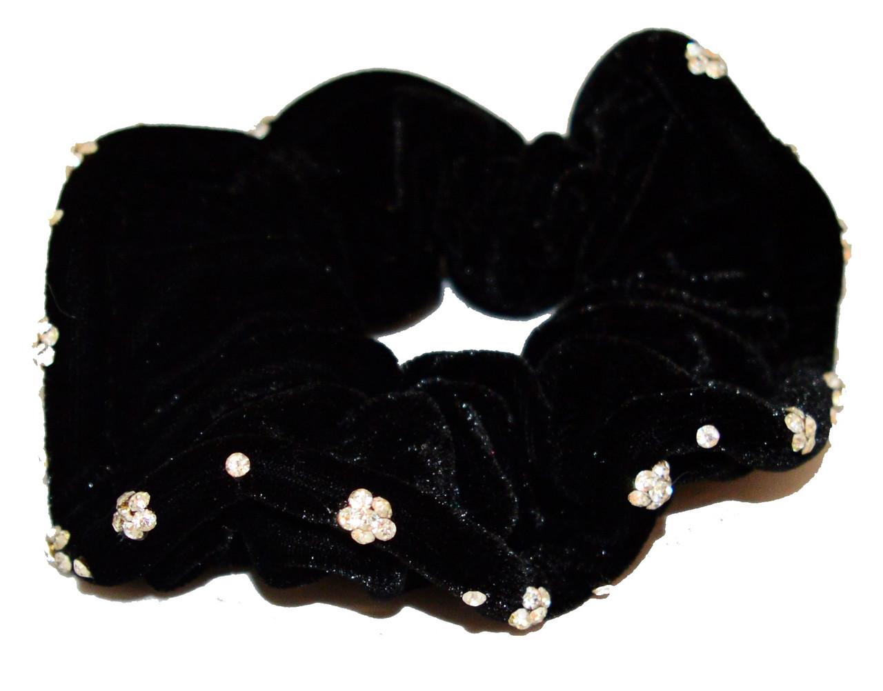 Резинка для волос велюровая с серебристыми камнями-1