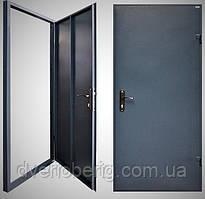 Техническая металлическая дверь модель одно листовая темно серая.