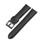 Ремінець для годинника 6 секунд ZIZ чорний з натуральної шкіри 20 мм ширина з нержавіючої застібкою