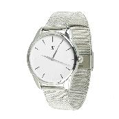 Годинник ZIZ Чорним по білому (ремінець з нержавіючої сталі срібло) + додатковий ремінець