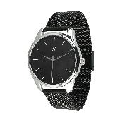 Годинник ZIZ Білим по чорному (ремінець з нержавіючої сталі чорний) + додатковий ремінець