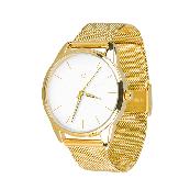 Годинник ZIZ Золотим по білому (ремінець з нержавіючої сталі золото) + додатковий ремінець