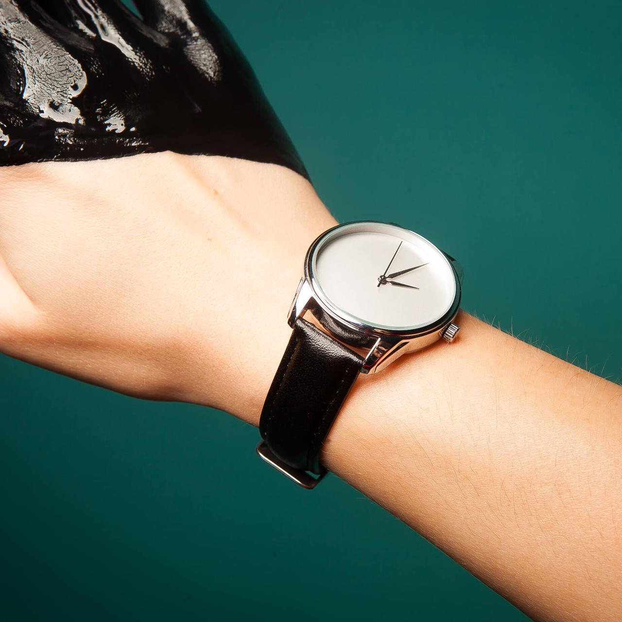 Годинник ZIZ Мінімалізм (ремінець насичено - чорний, срібло) + додатковий ремінець