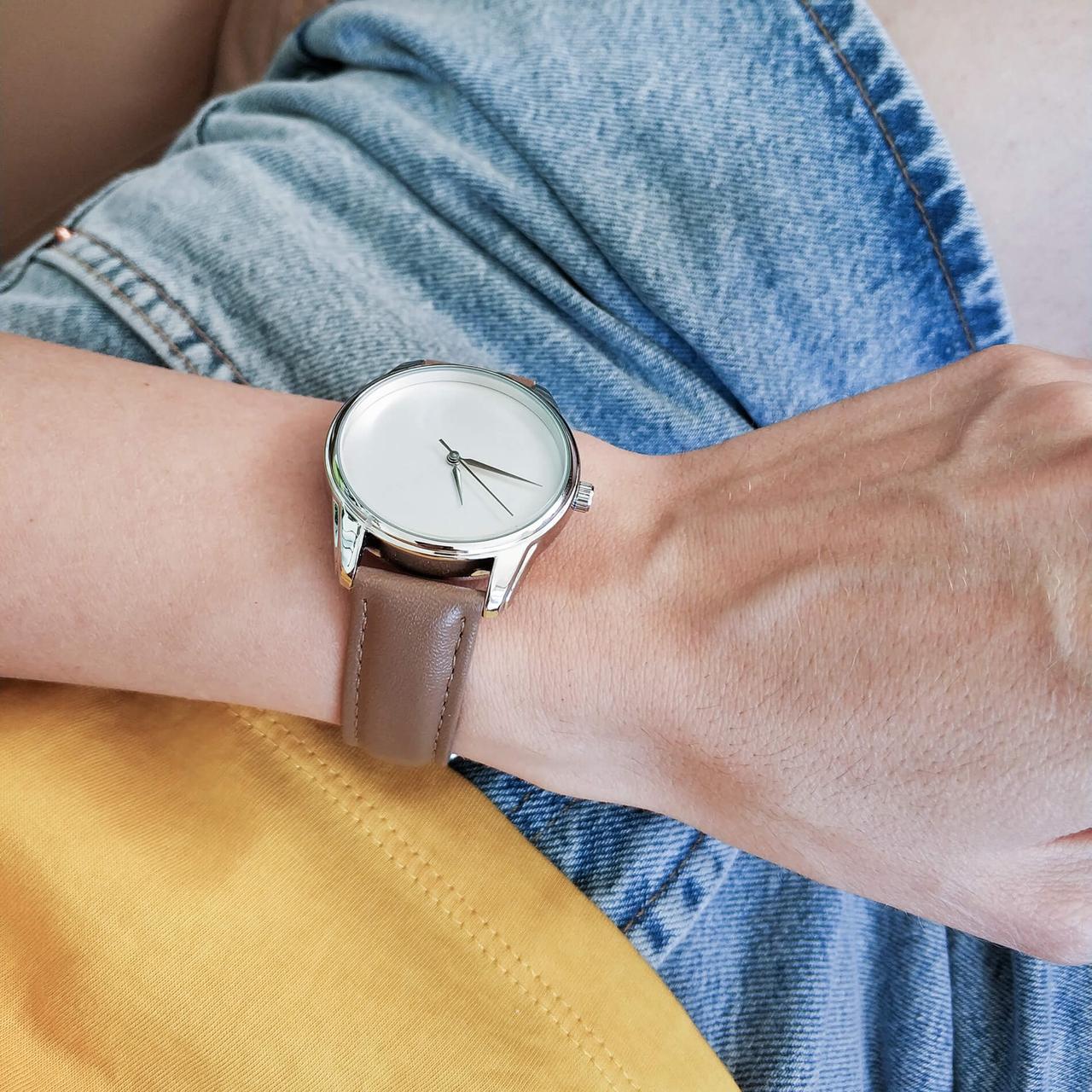 Годинник ZIZ Мінімалізм (ремінець сіро - коричневий, срібло) + додатковий ремінець