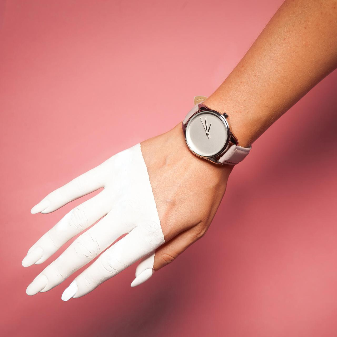 Часы ZIZ Минимализм (ремешок светло - лавандовый, серебро) + дополнительный ремешок