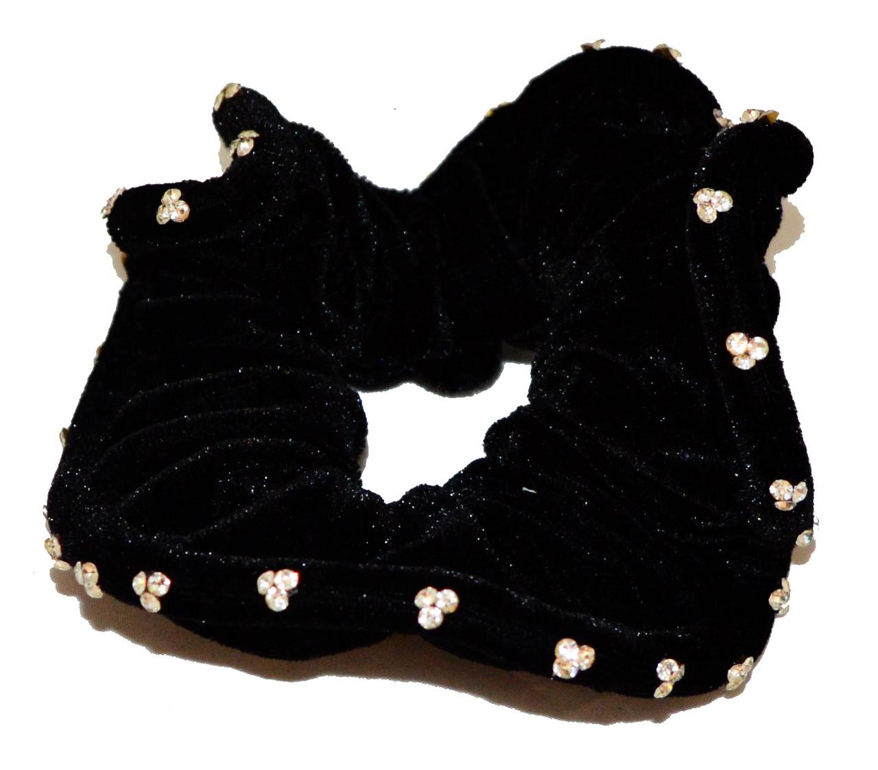 Резинка для волос велюровая с серебристыми камнями-6