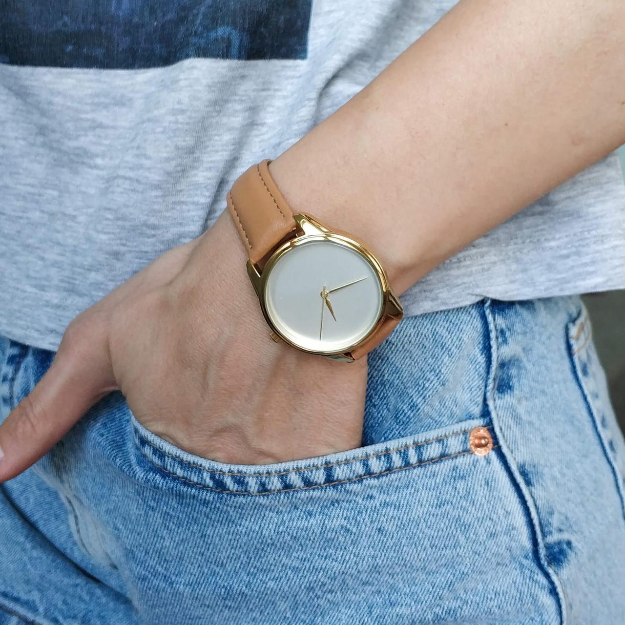 Часы ZIZ Минимализм (ремешок карамельно - коричневый, золото) + дополнительный ремешок