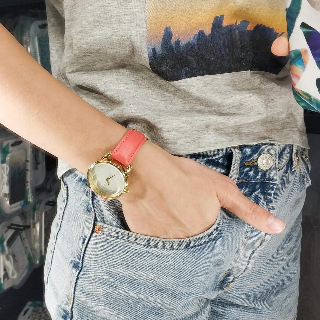 Часы ZIZ Минимализм (ремешок клубнично - коралловый, золото) + дополнительный ремешок