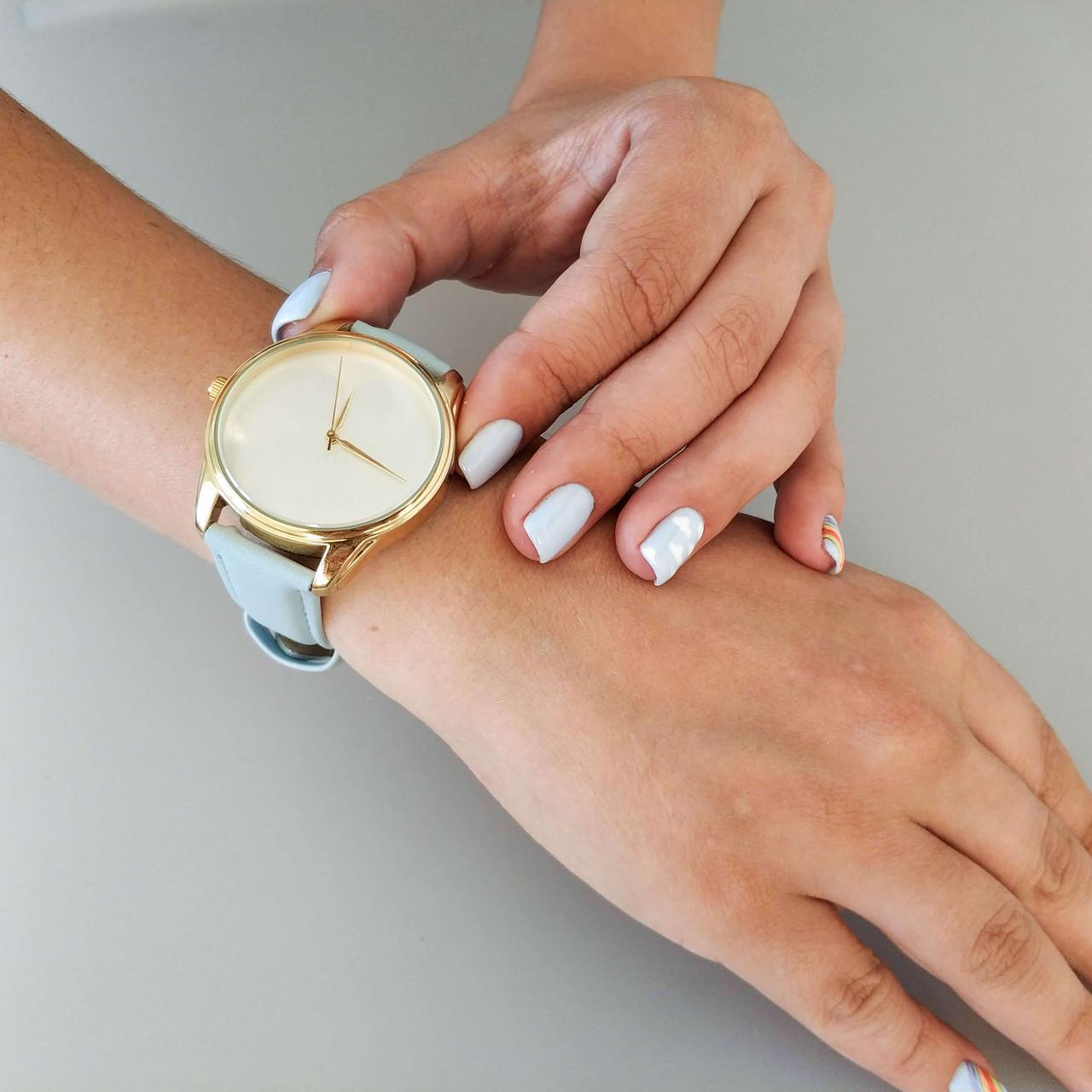 Годинник ZIZ Мінімалізм (ремінець ніжно - блакитний, золото) + додатковий ремінець