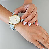 Часы ZIZ Минимализм (ремешок нежно - голубой, золото) + дополнительный ремешок