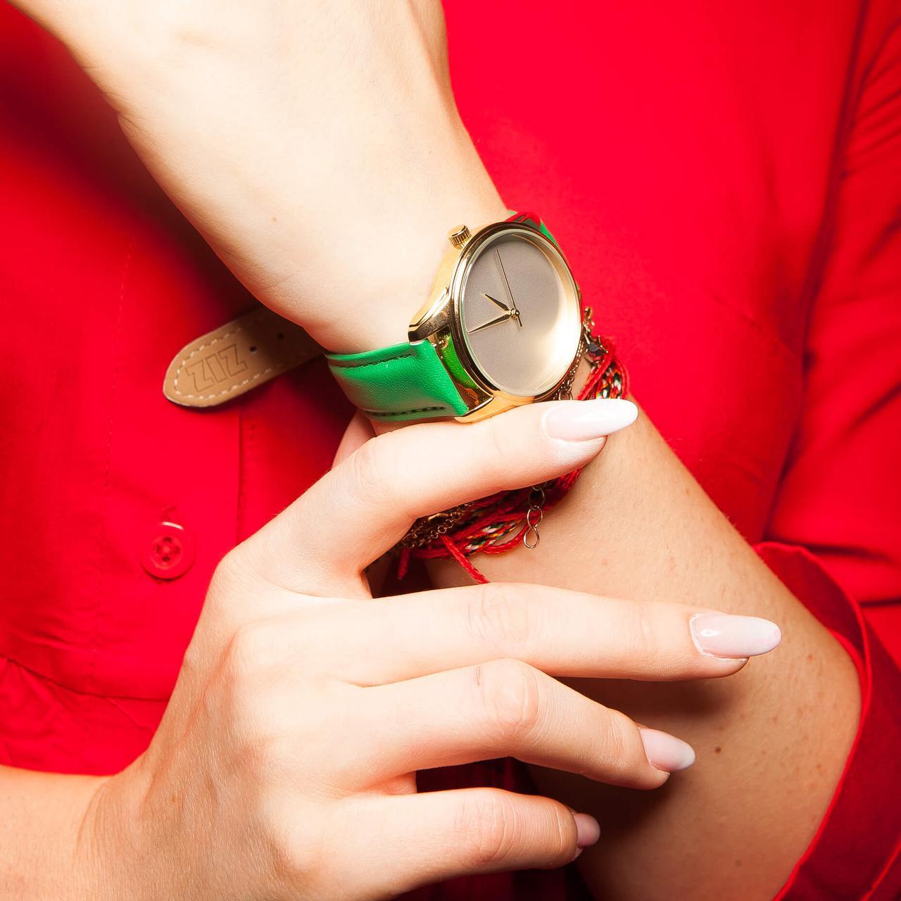 Часы ZIZ Минимализм (ремешок изумрудно - зеленый, золото) + дополнительный ремешок