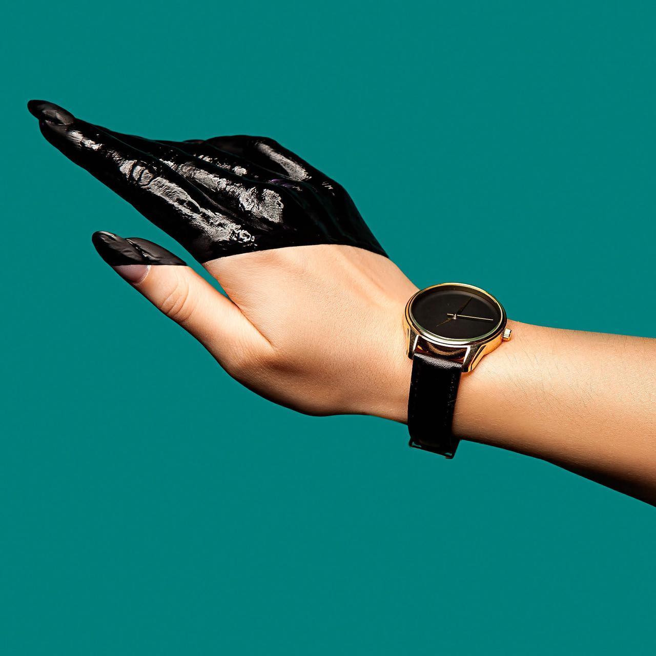 Годинник ZIZ Мінімалізм чорний (ремінець насичено - чорний, золото) + додатковий ремінець