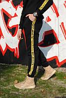Штаны утеплённые чёрные с жёлтыми лампасами Off White