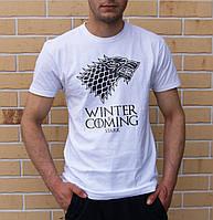 Стильная мужская  футболка с принтом Winter is сoming  из Игры престолов