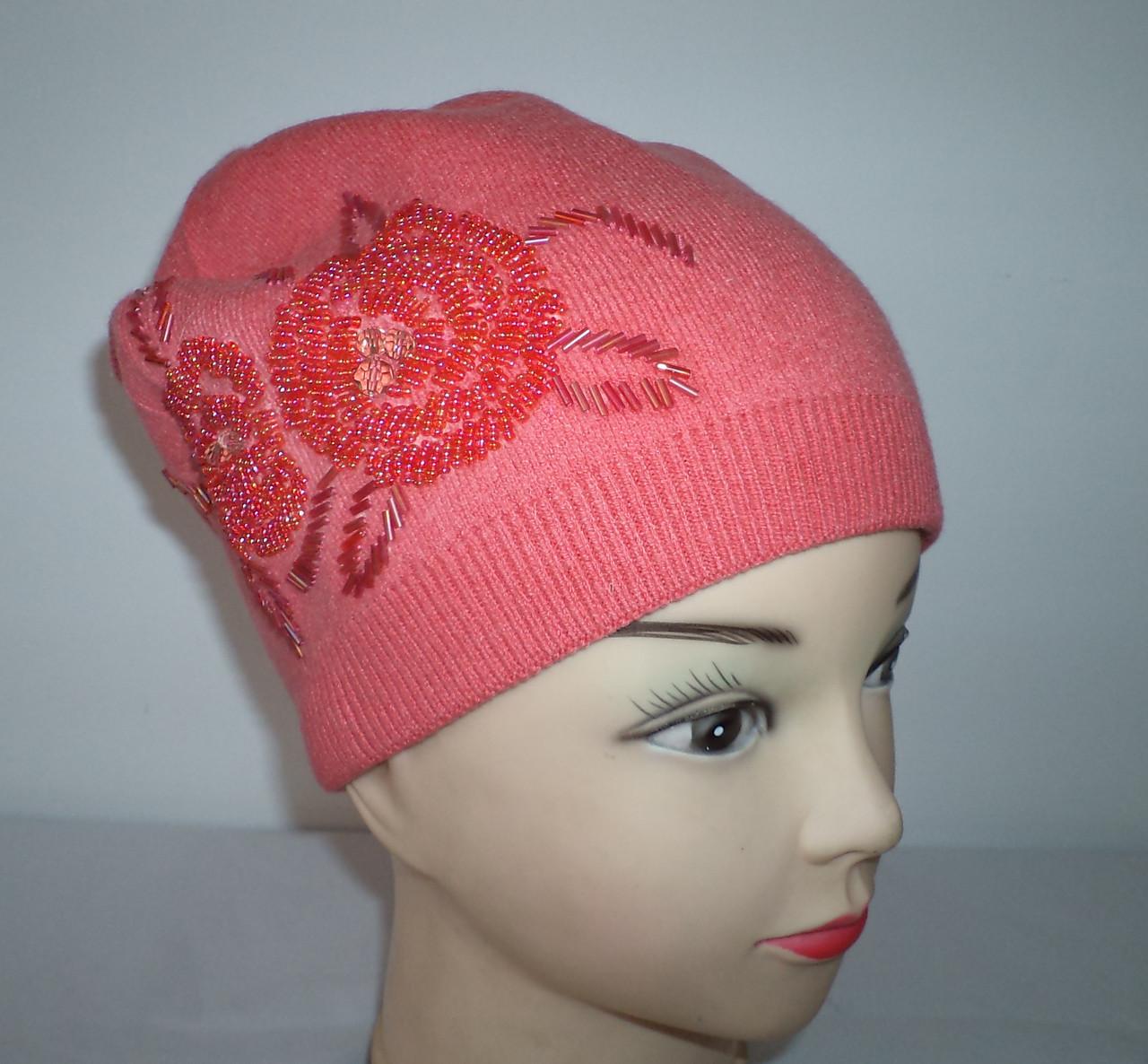 """Женская шапка """"Две розы""""  №4203"""