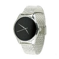 Часы ZIZ Минимализм черный (ремешок из нержавеющей стали серебро) + дополнительный ремешок, фото 1