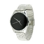 Часы ZIZ Минимализм черный (ремешок из нержавеющей стали серебро) + дополнительный ремешок