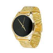 Годинник ZIZ Мінімалізм чорний (ремінець з нержавіючої сталі золото) + додатковий ремінець