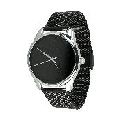 Часы ZIZ Минимализм черный (ремешок из нержавеющей стали черный) + дополнительный ремешок
