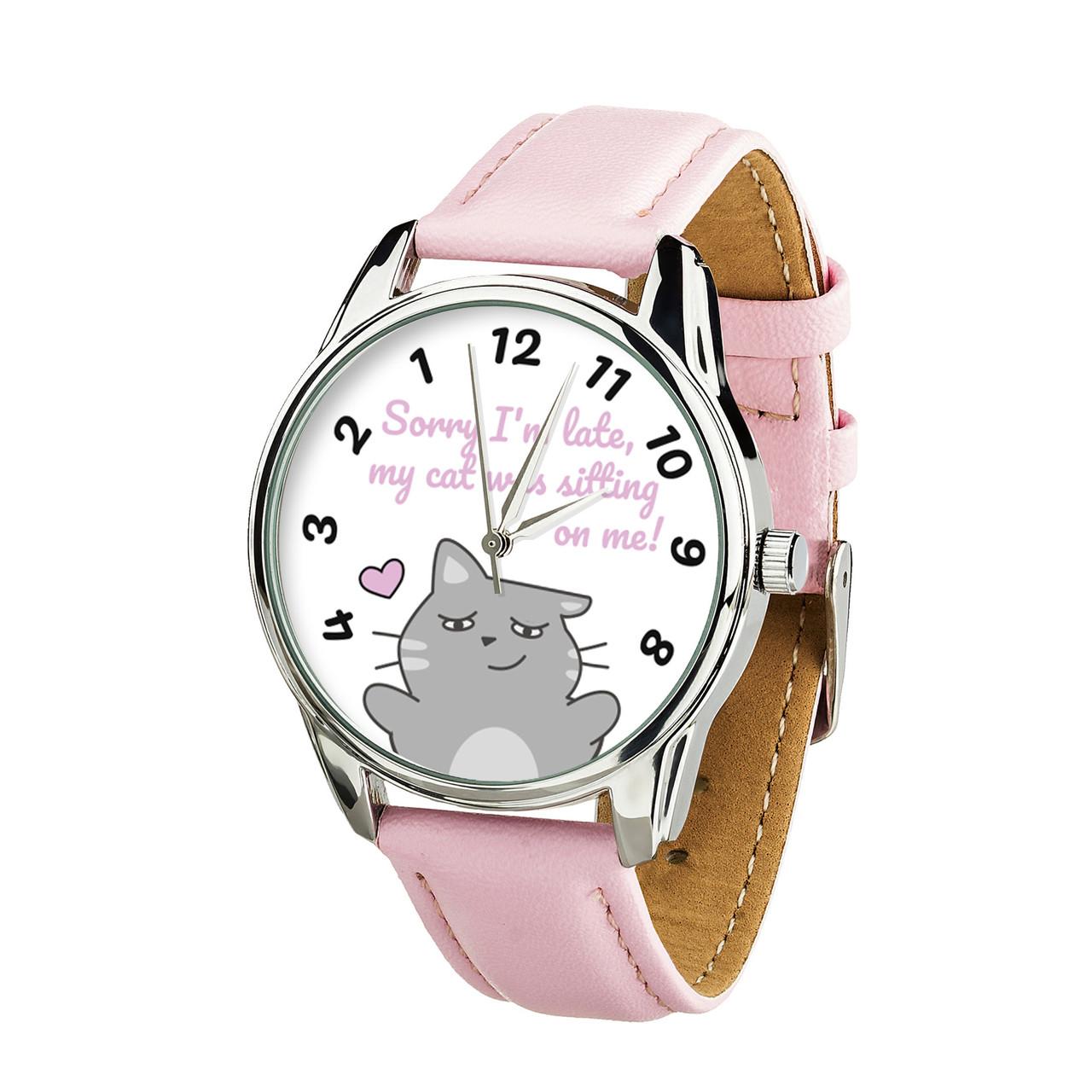 Годинник ZIZ із зворотним ходом Котики не спізнюються (ремінець пудрово - рожевий, срібло) + додатковий ремінець