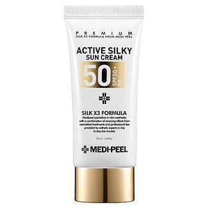 Солнцезащитный крем с комплексом пептидов MEDI-PEEL Active Silky Sun Cream SPF50+PA+++  50мл