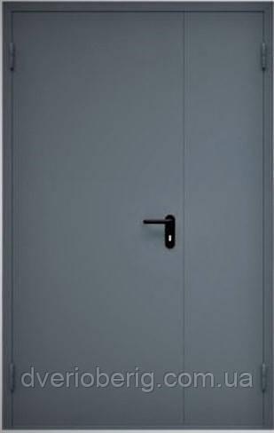 Техническая металлическая дверь модель двух створчатая двух листовая серая.