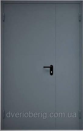 Техническая металлическая дверь модель двух створчатая двух листовая серая., фото 2