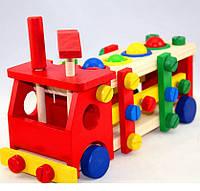 Деревянная игрушка конструктор Стучалка машинка