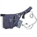 Мужская водонепронецаемая сумка Cross Body 6016 на плечо рюкзак слинг Синий, фото 2