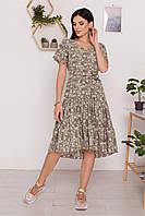 Платье миди женское летнее с цветочным принтом Jayleen оливка/горчица 44, 46, 48, 50, 52, 54