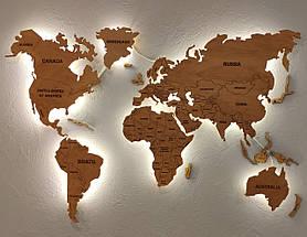 Деревянная карта Мира с LED подсветкой и гравировкой 120х70 см, фото 3