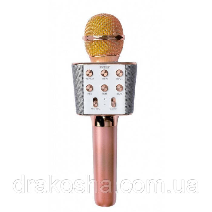 Беспроводной микрофон караоке блютуз WS-1688 Bluetooth динамик USB Розово-Золотой