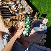Термокружка ZIZ с рисунком Листья, термос, термостакан с крышкой, термочашка непроливайка 380 мл
