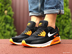 Мужские кроссовки Nike Air Max 90 черные с оранжевым / чоловічі кросівки Найк Аир Макс (Топ реплика ААА+)