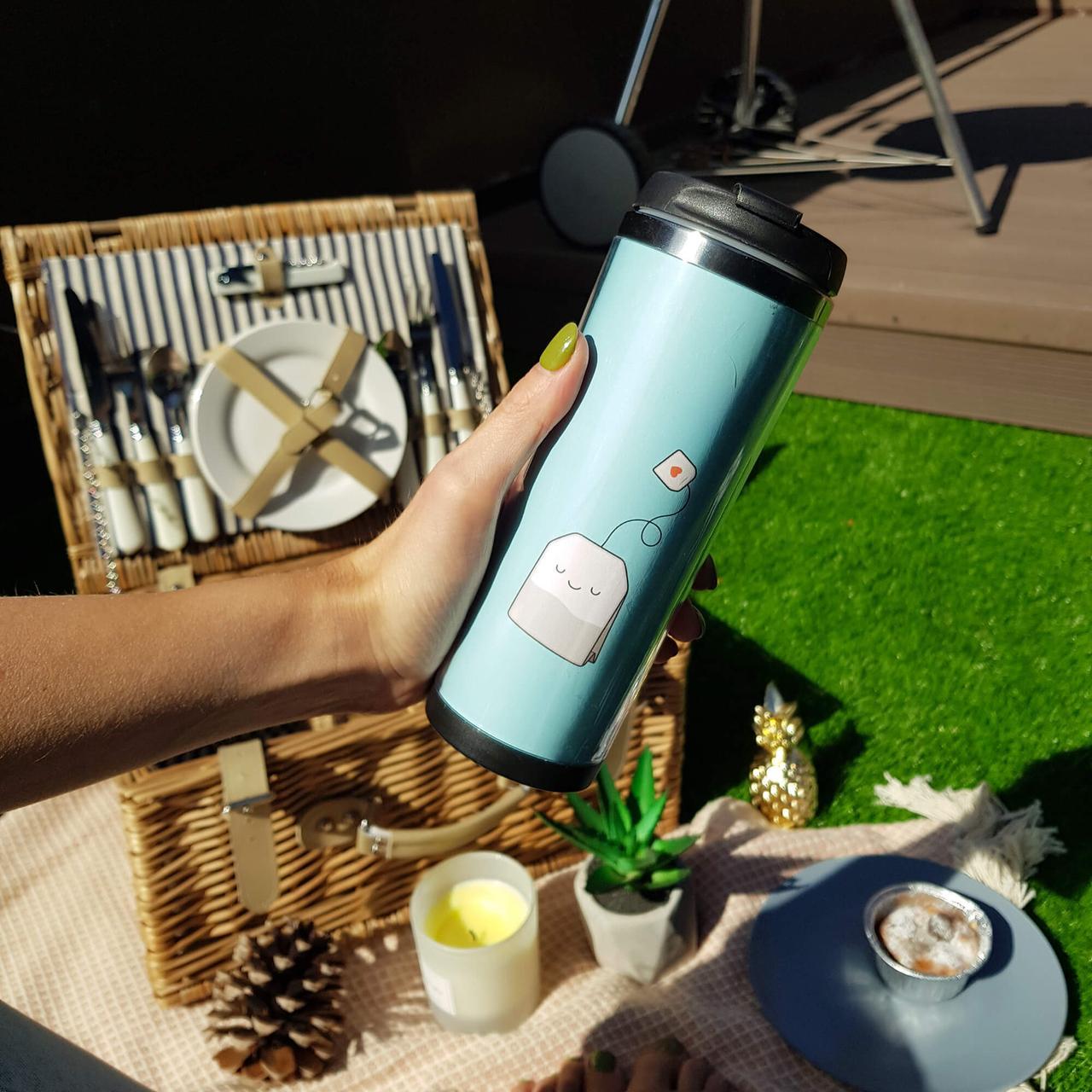 Термокружка ZIZ з малюнком Чайок, термос, термочашку з кришкою, термочашка непроливайка 380 мл