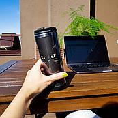 Термокружка ZIZ с рисунком Кошачья, термос, термостакан с крышкой, термочашка непроливайка 380 мл