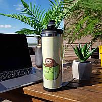 Термокружка ZIZ с рисунком Ленивый кофе, термос, термостакан, термочашка непроливайка 380 мл