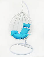 Подвесное кресло-качалка кокон B-183A (бело-голубое)