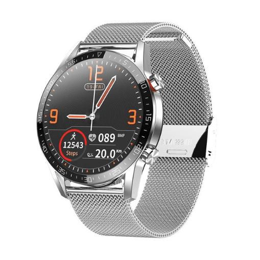 Microwear L13 смарт часы с тонометром, ЭКГ, звонки через телефон - Серебро