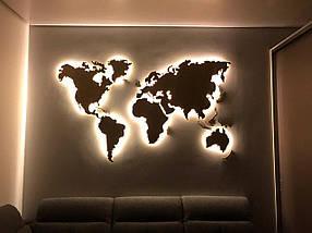 Дерев'яна карта Світу з LED підсвічуванням 125х70 см, фото 3