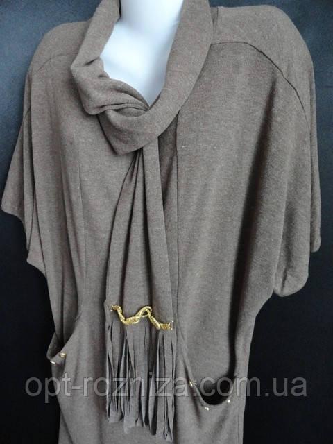 Женские кофты-туники больших размеров с шарфом.