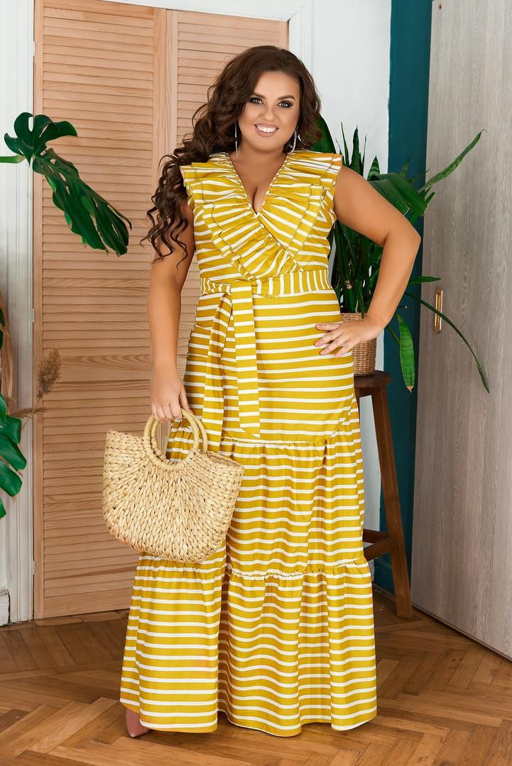 Женское длинное коттоновое платье в полоску больших размеров 48-62