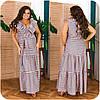 Женское длинное коттоновое платье в полоску больших размеров 48-62, фото 6