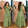 Женское длинное коттоновое платье в полоску больших размеров 48-62, фото 9