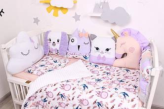 Комплект в  кроватку и игрушками в Фиолетовых тонах