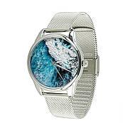 Часы ZIZ Океаническая волна (ремешок из нержавеющей стали серебро) + дополнительный ремешок
